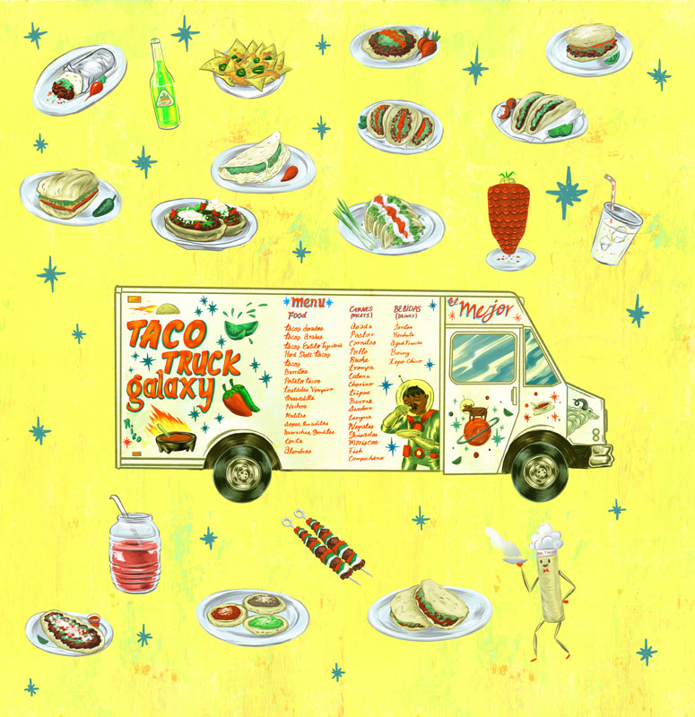 Charles Galubitz taco truck illustration for the LA Times food section